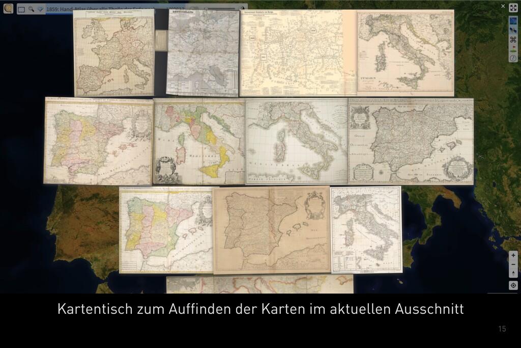 15 Kartentisch zum Auffinden der Karten im aktu...