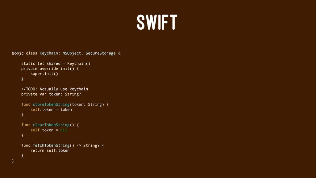 SWIFT @objc class Keychain: NSObject, SecureSto...