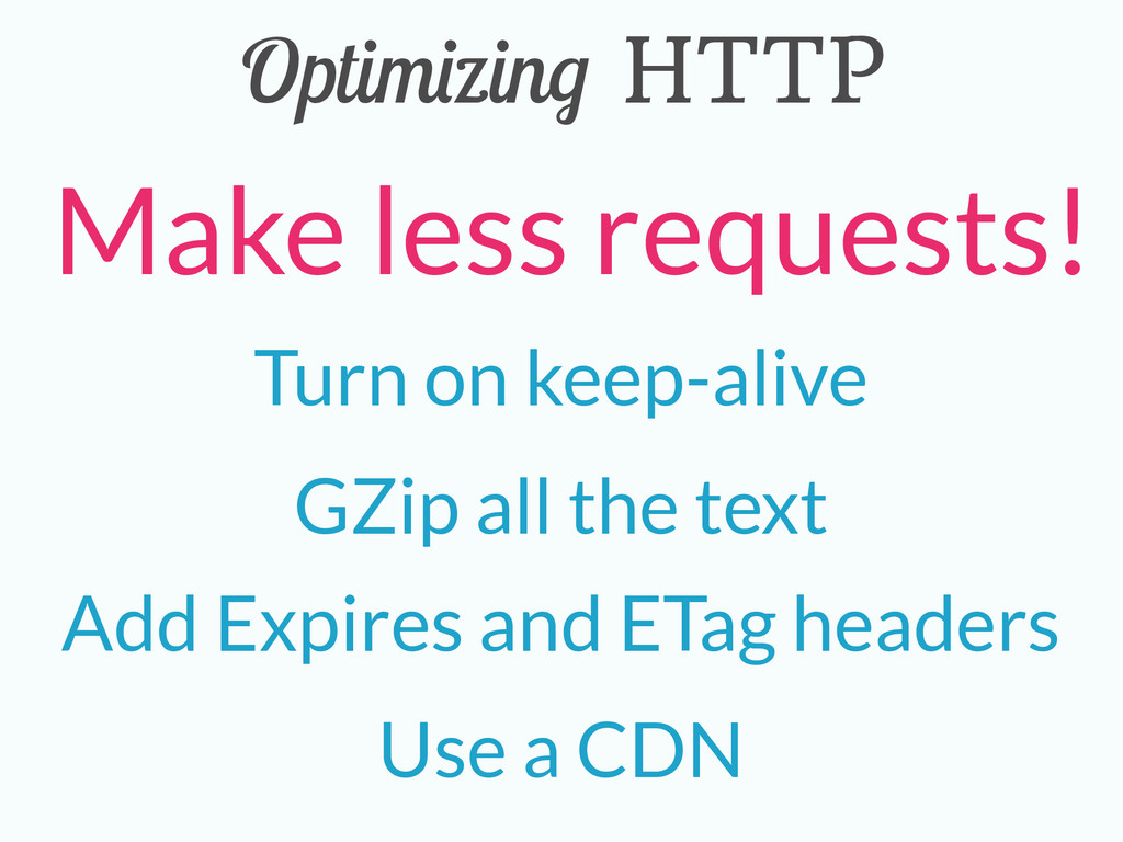 Optimizing HTTP Turn on keep-alive GZip all the...