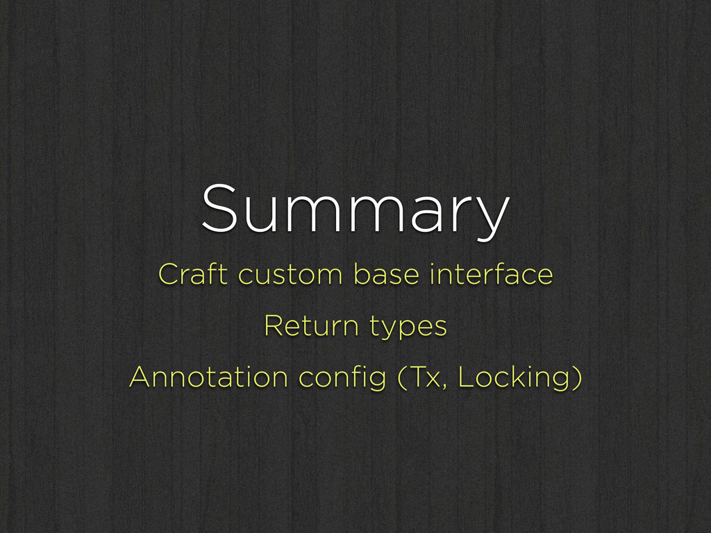 Summary Craft custom base interface Return type...