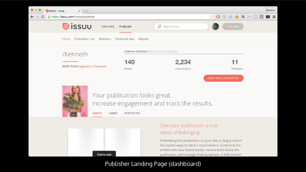 Publisher Landing Page (dashboard)