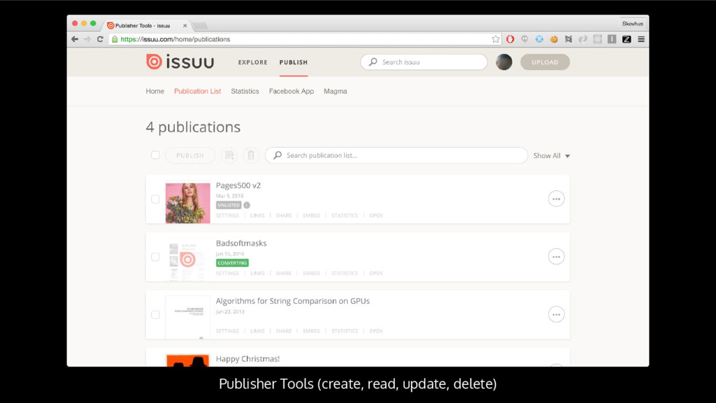 Publisher Tools (create, read, update, delete)