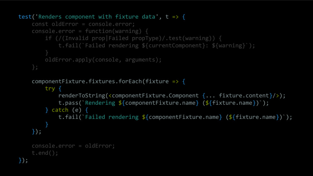 test('Renders component with fixture data', t =...