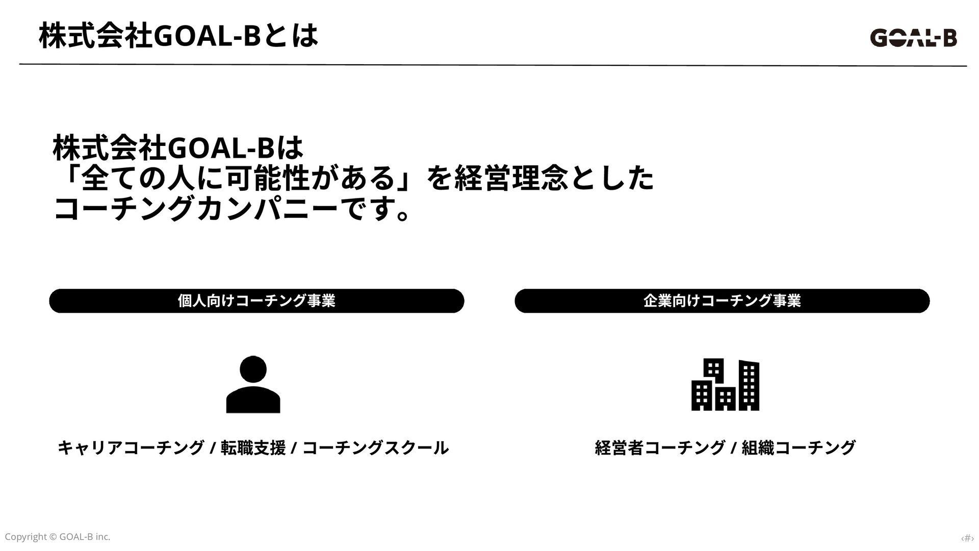 社名:株式会社GOAL-B 代表:中川晃雄 設⽴...