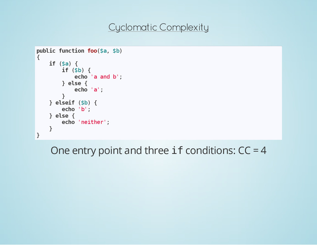 Cyclomatic Complexity p u b l i c f u n c t i o...