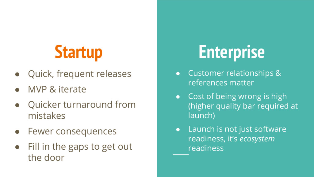 Startup ● Quick, frequent releases ● MVP & iter...