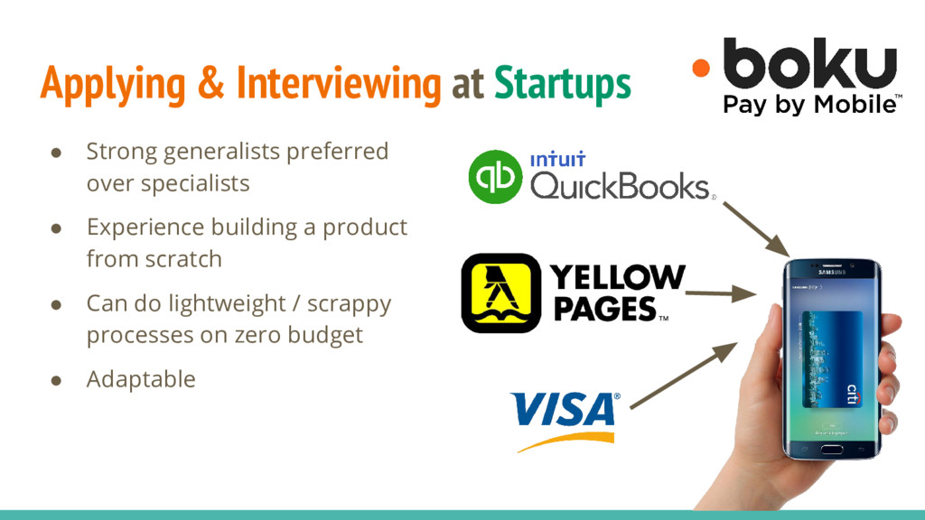 Applying & Interviewing at Startups ● Strong ge...