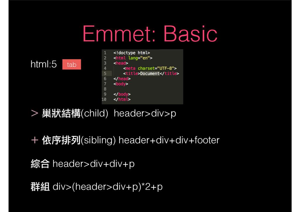 Emmet: Basic html:5 ! > 巢狀結構(child) header>div>...