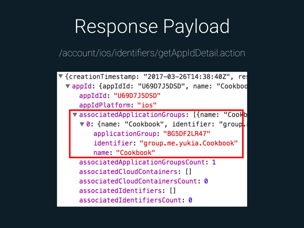 Response Payload /account/ios/identifiers/getApp...