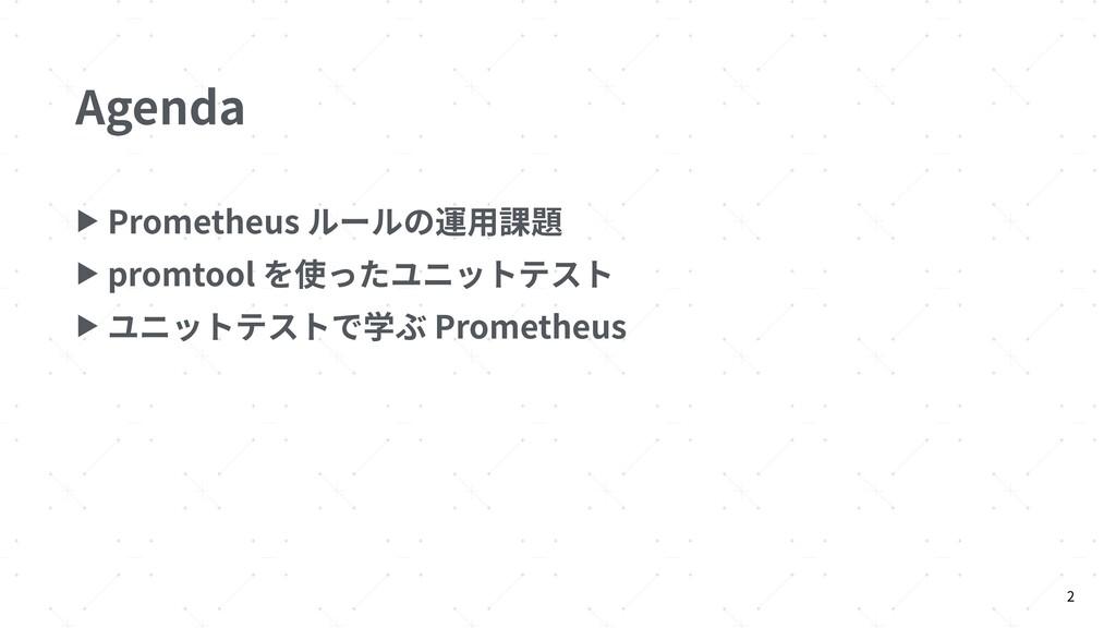 Agenda ▶ Prometheus ルールの運⽤課題 ▶ promtool を使ったユニッ...