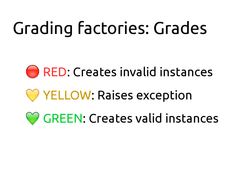 Grading factories: Grades ● RED: Creates invali...