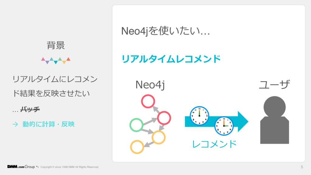 Neo4jを使いたい… リアルタイムレコメンド Copyright © since 1998 ...