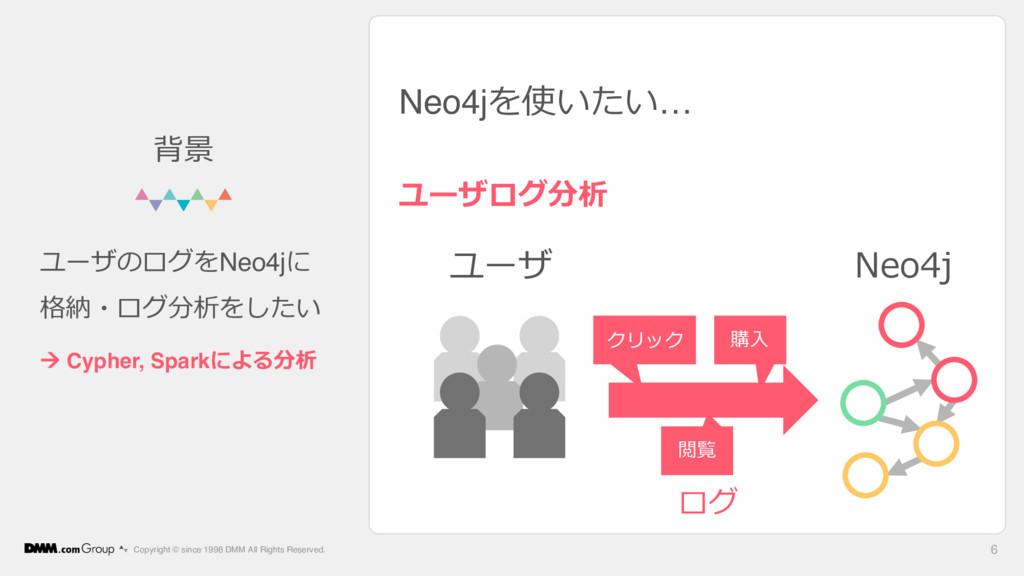 Neo4jを使いたい… ユーザログ分析 Copyright © since 1998 DMM ...