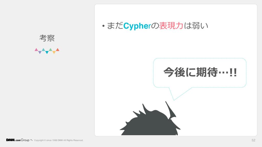 • まだCypherの表現⼒は弱い Copyright © since 1998 DMM Al...