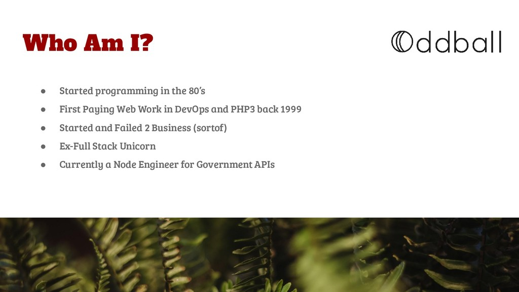 Who Am I? ● Started programming in the 80's ● F...