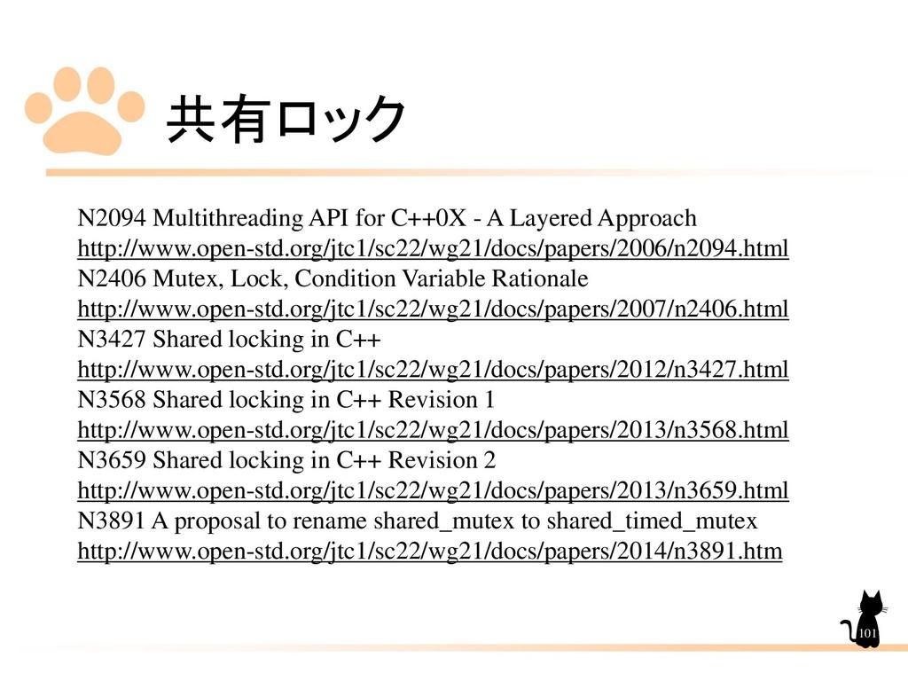 共有ロック 101 N2094 Multithreading API for C++0X - ...