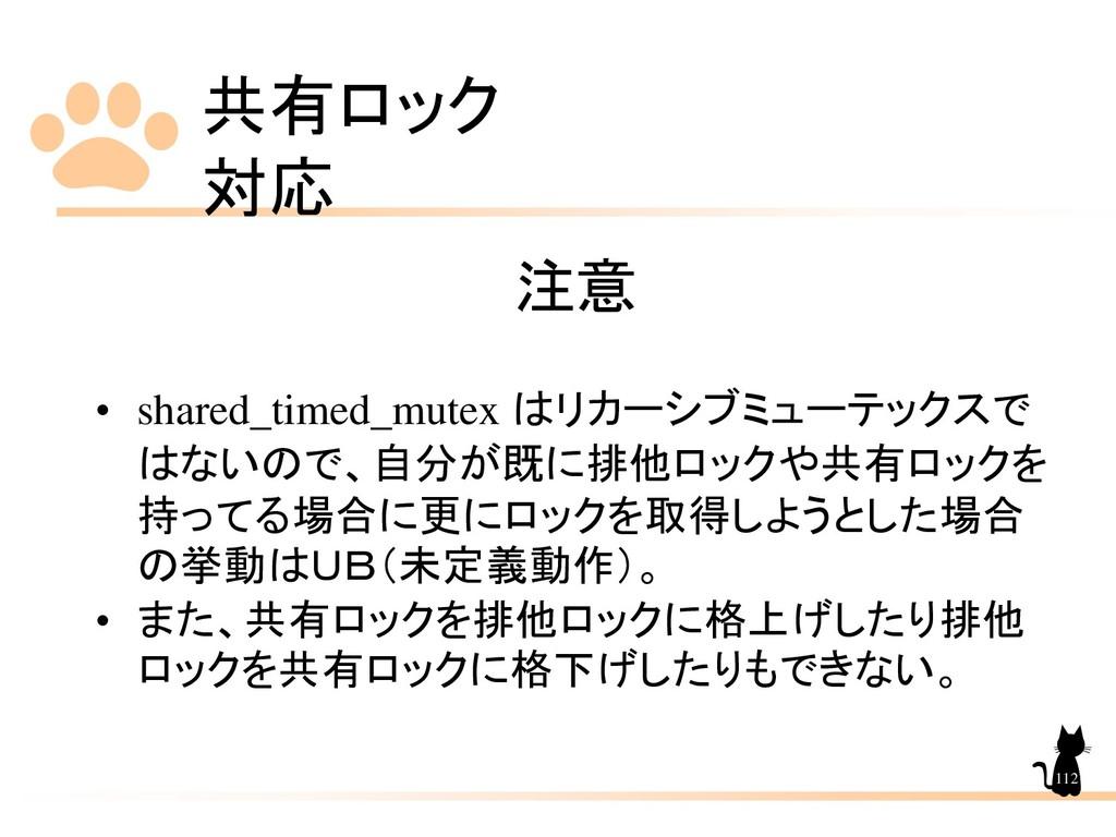 共有ロック 対応 112 注意 • shared_timed_mutex はリカーシブミューテ...