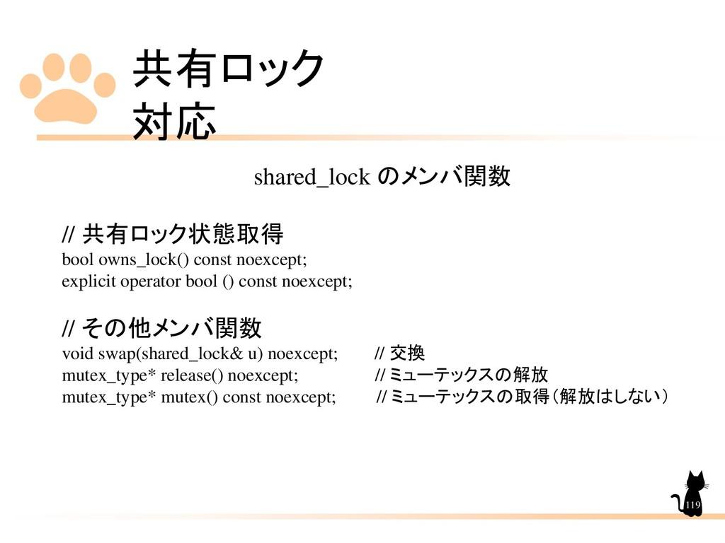 共有ロック 対応 119 shared_lock のメンバ関数 // 共有ロック状態取得 bo...