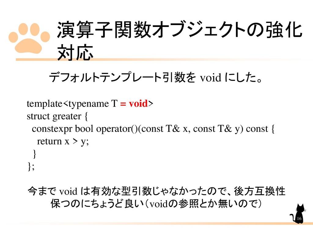 演算子関数オブジェクトの強化 対応 16 デフォルトテンプレート引数を void にした。 t...
