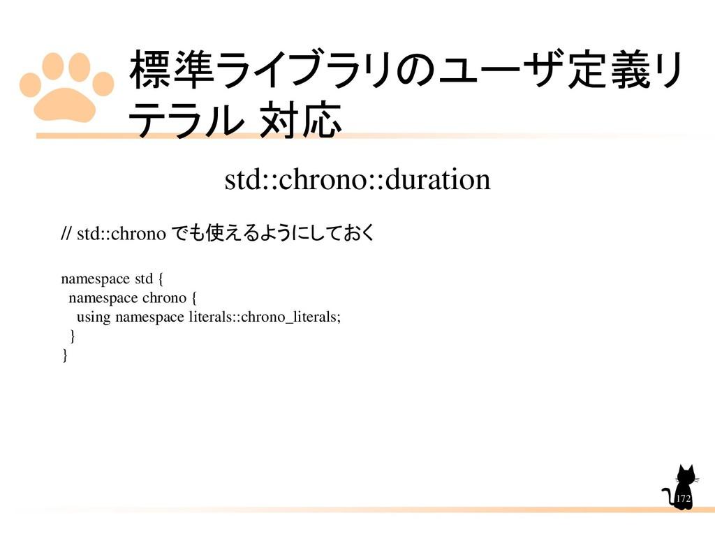 標準ライブラリのユーザ定義リ テラル 対応 172 std::chrono::duration...