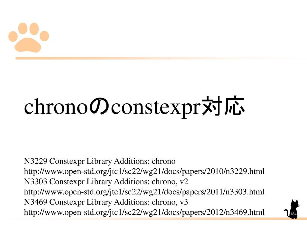 chronoのconstexpr対応 N3229 Constexpr Library Addi...