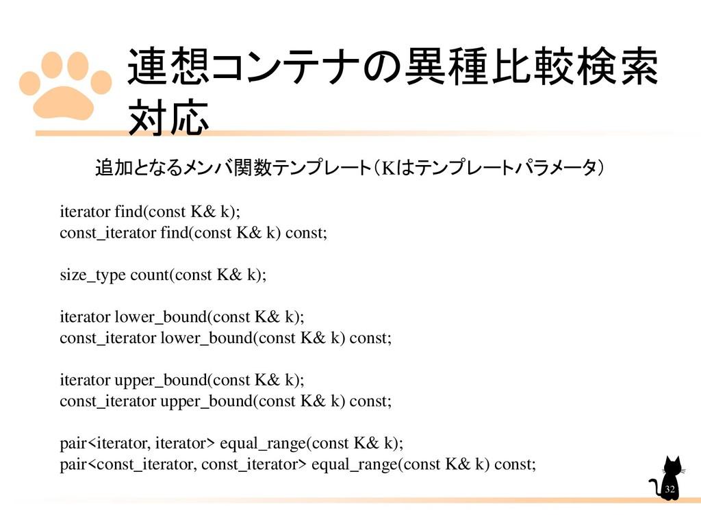 連想コンテナの異種比較検索 対応 32 追加となるメンバ関数テンプレート(Kはテンプレートパラ...