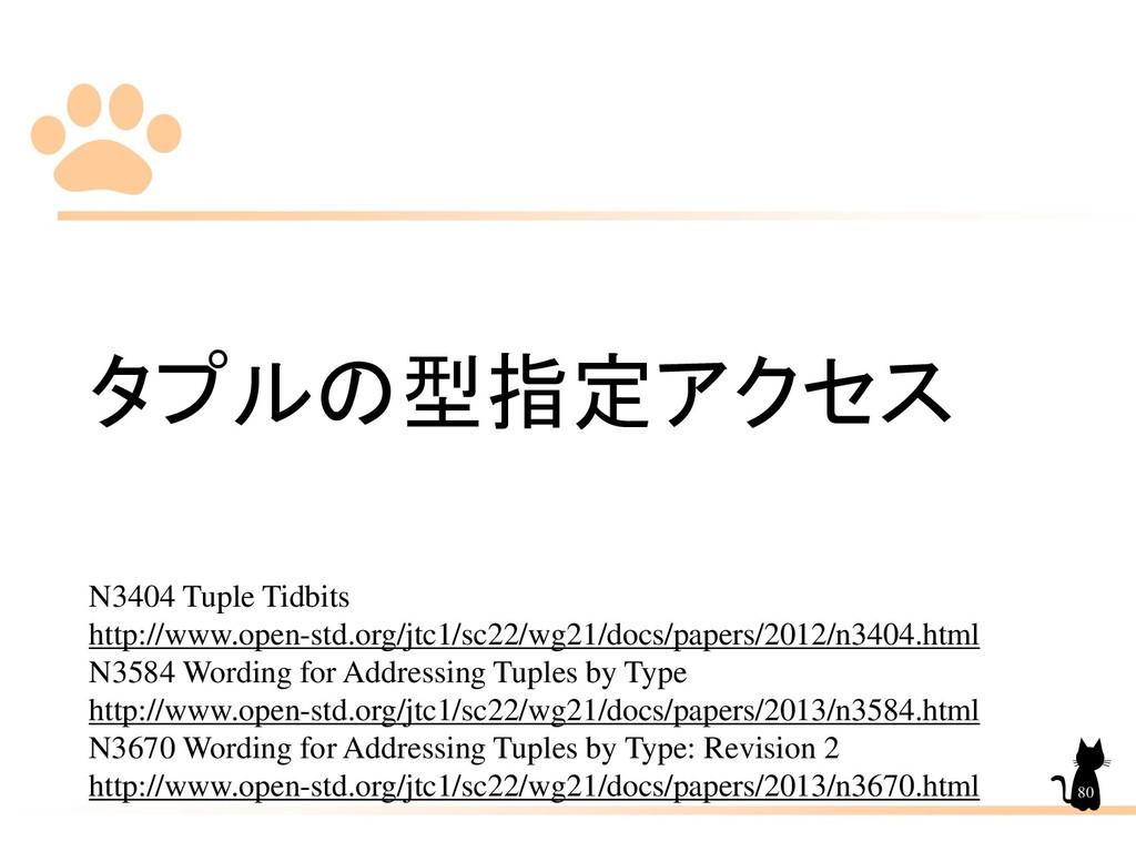 タプルの型指定アクセス N3404 Tuple Tidbits http://www.open...