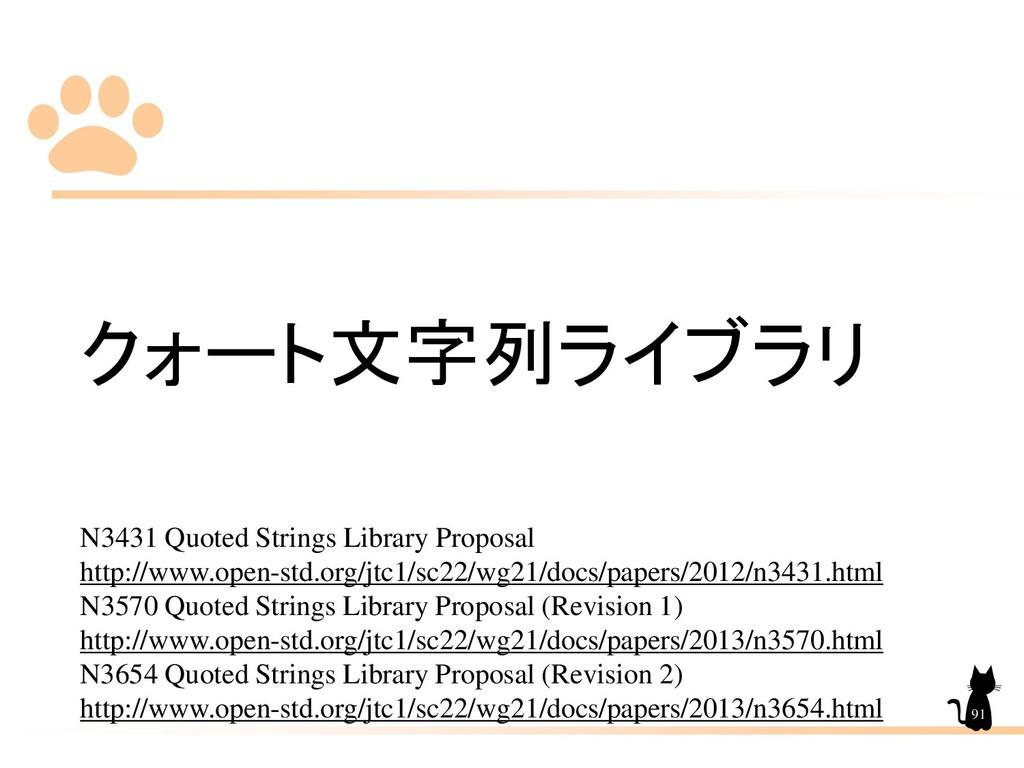 クォート文字列ライブラリ N3431 Quoted Strings Library Propo...