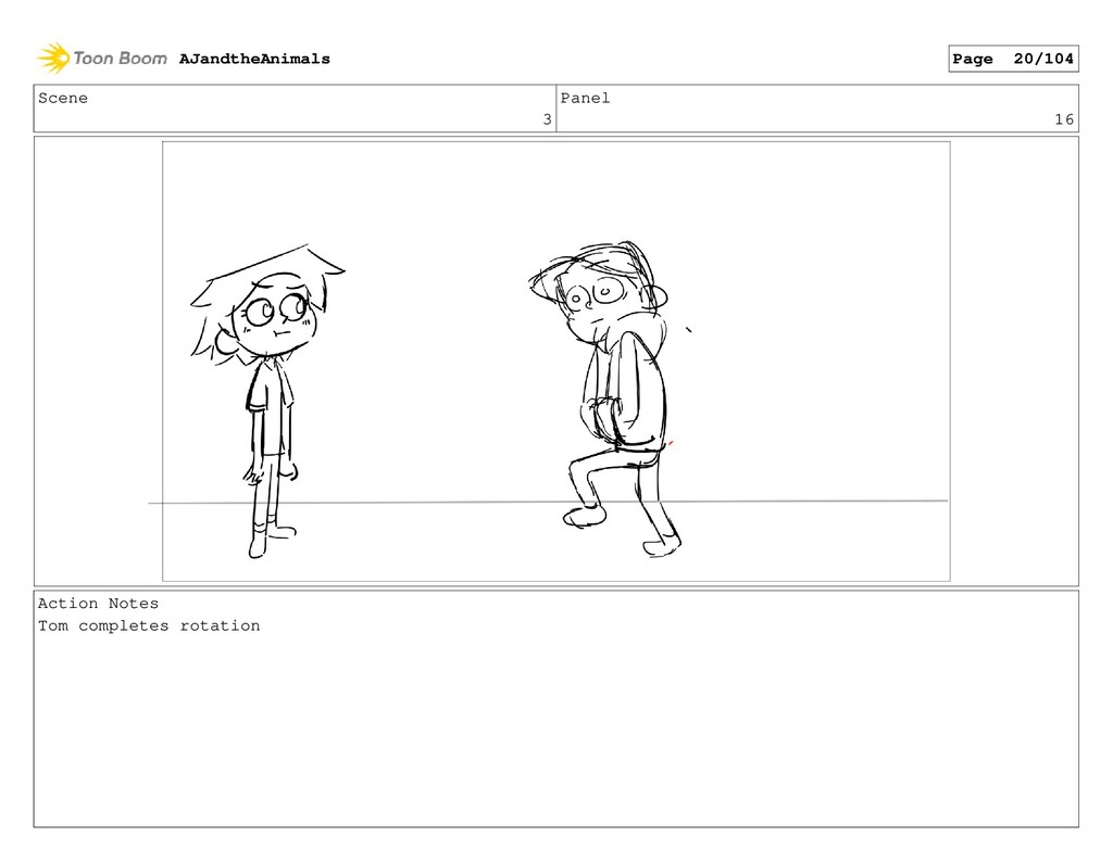 Scene 3 Panel 16 Action Notes Tom completes rot...