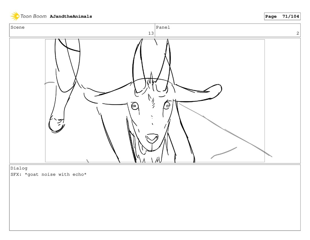 Scene 13 Panel 2 Dialog SFX: *goat noise with e...