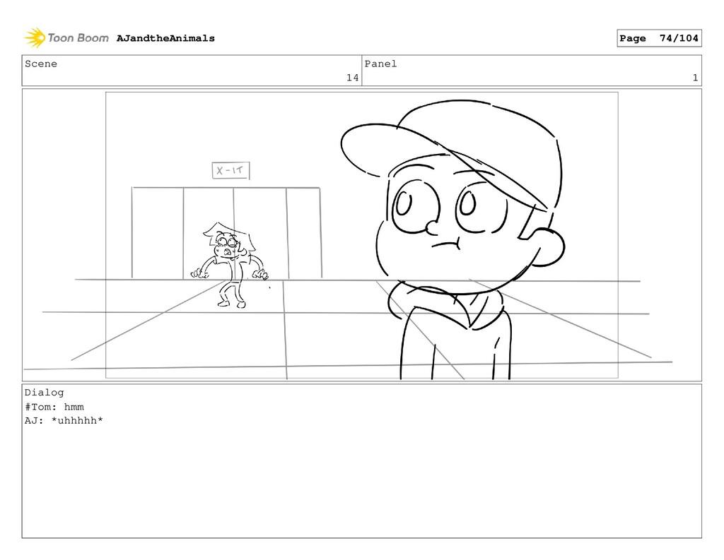 Scene 14 Panel 1 Dialog #Tom: hmm AJ: *uhhhhh* ...