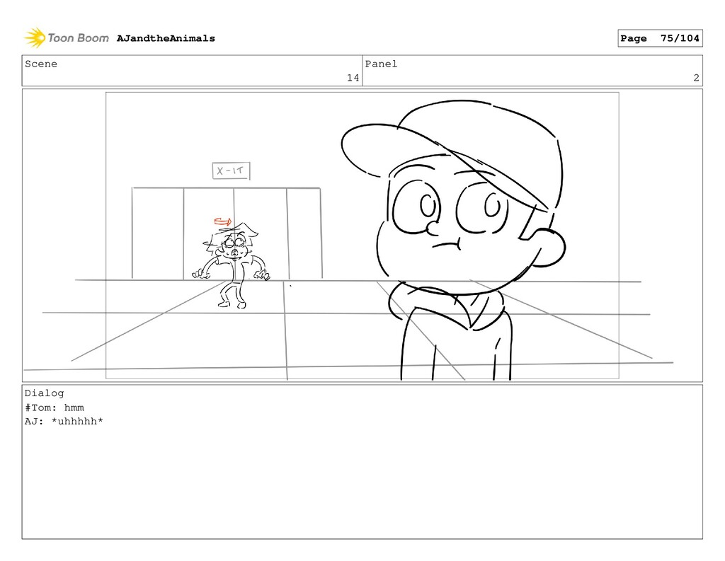 Scene 14 Panel 2 Dialog #Tom: hmm AJ: *uhhhhh* ...