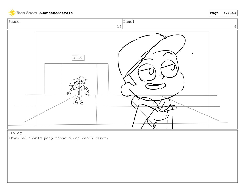 Scene 14 Panel 4 Dialog #Tom: we should peep th...
