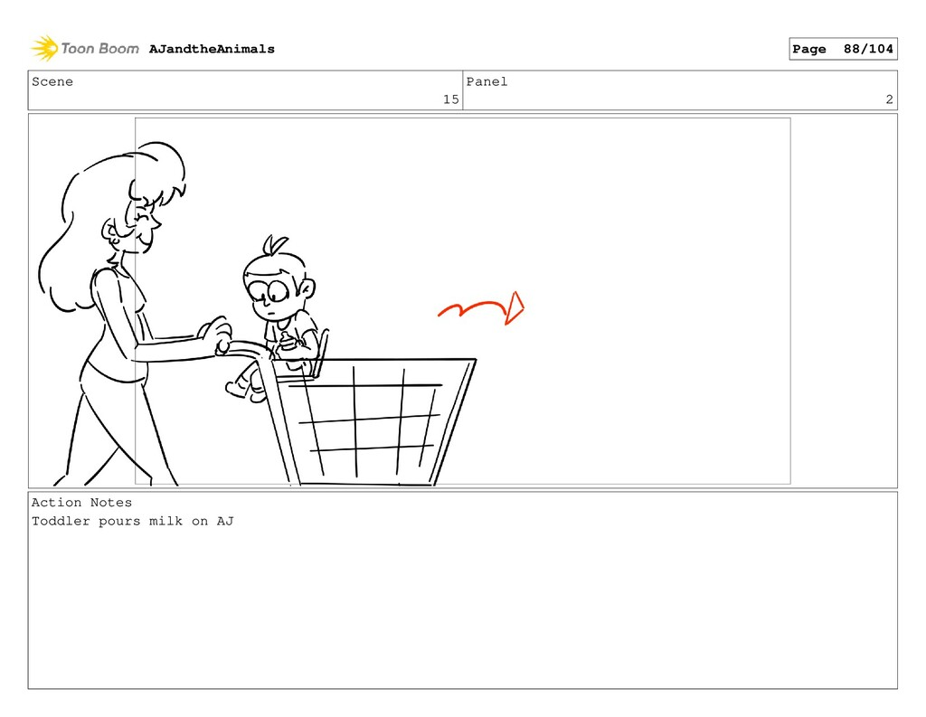 Scene 15 Panel 2 Action Notes Toddler pours mil...