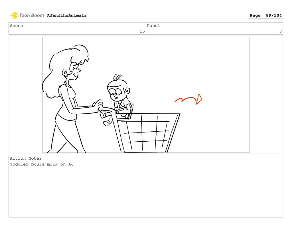 Scene 15 Panel 3 Action Notes Toddler pours mil...