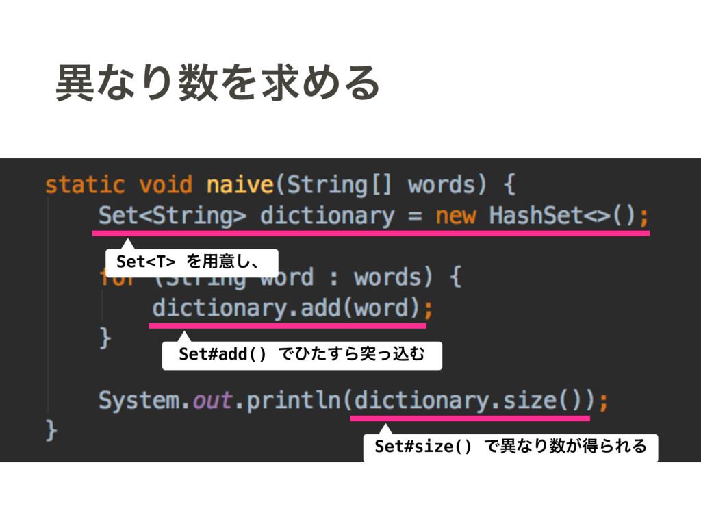 ҟͳΓΛٻΊΔ Set<T> Λ༻ҙ͠ɺ Set#add() Ͱͻͨ͢ΒಥͬࠐΉ Set#s...