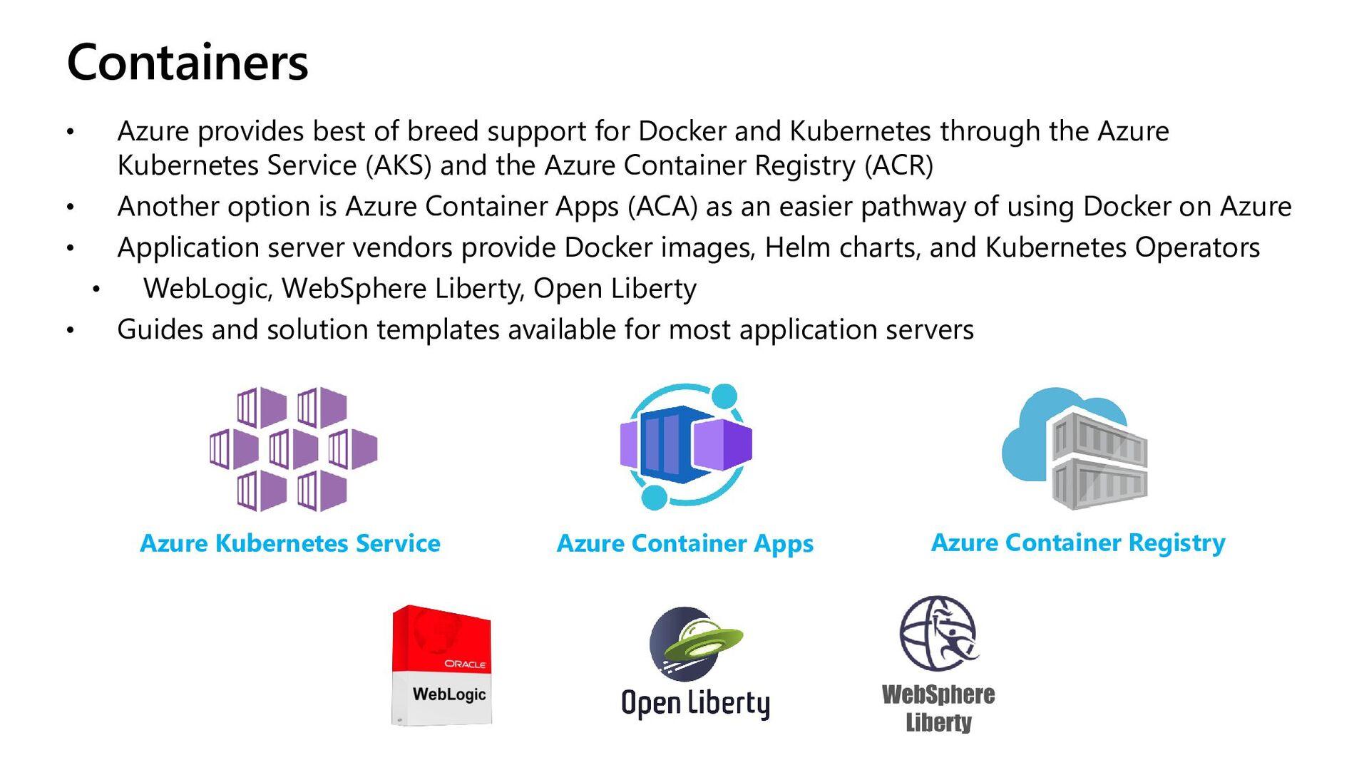 WebLogic on AKS • WebLogic certified by Oracle ...