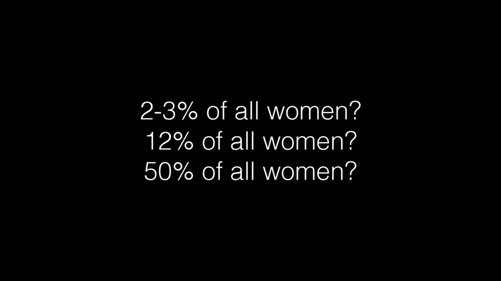 2-3% of all women? 12% of all women? 50% of all...