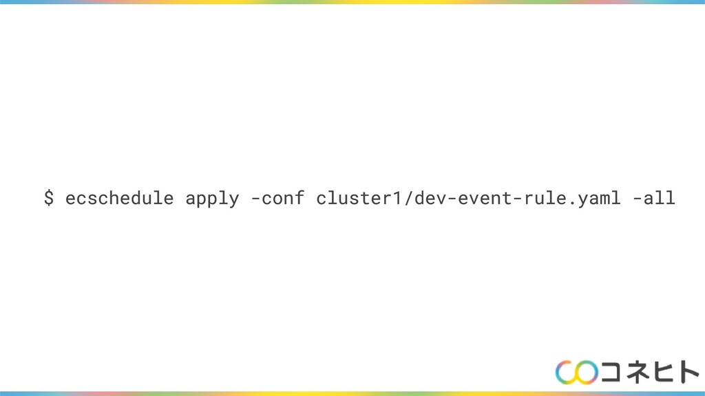 $ ecschedule apply -conf cluster1/dev-event-rul...