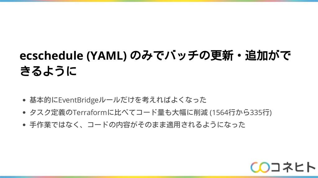 ecschedule (YAML) のみでバッチの更新・追加がで きるように 基本的にEven...