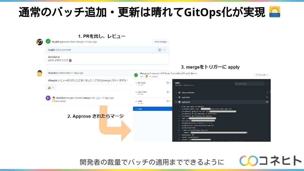 通常のバッチ追加・更新は晴れてGitOps化が実現 開発者の裁量でバッチの適用までできるように