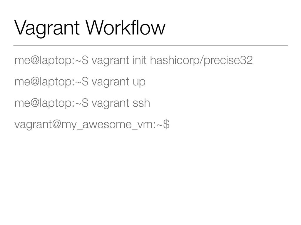 Vagrant Workflow me@laptop:~$ vagrant init hashi...