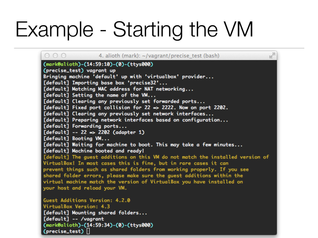 Example - Starting the VM