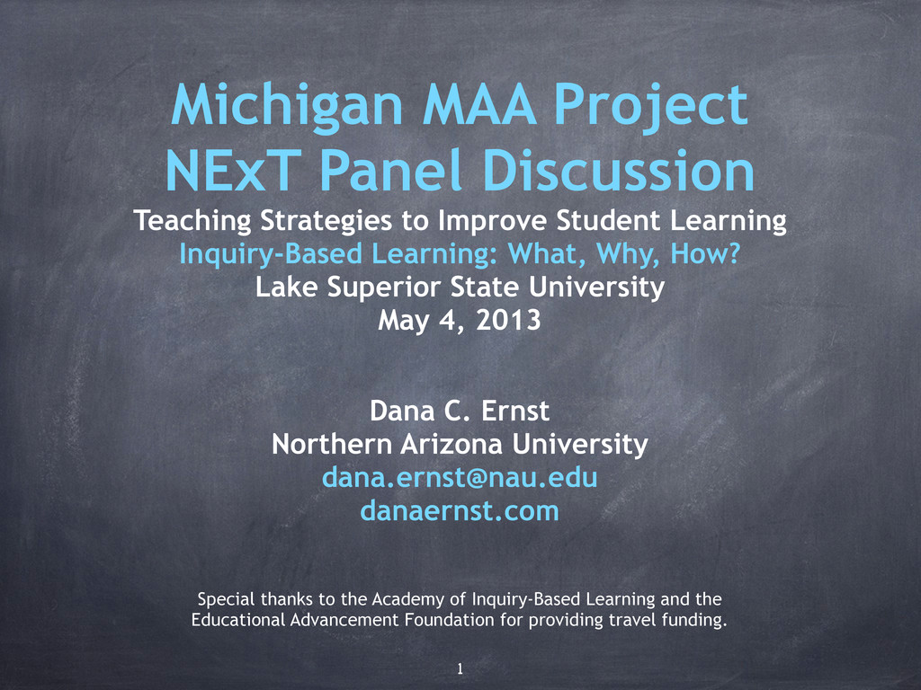 Michigan MAA Project NExT Panel Discussion Teac...