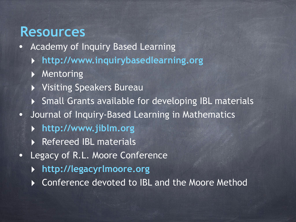 Resources • Academy of Inquiry Based Learning ‣...
