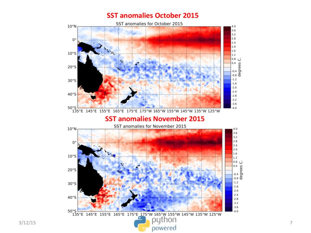 SST anomalies October 2015 SST anomalies Novemb...