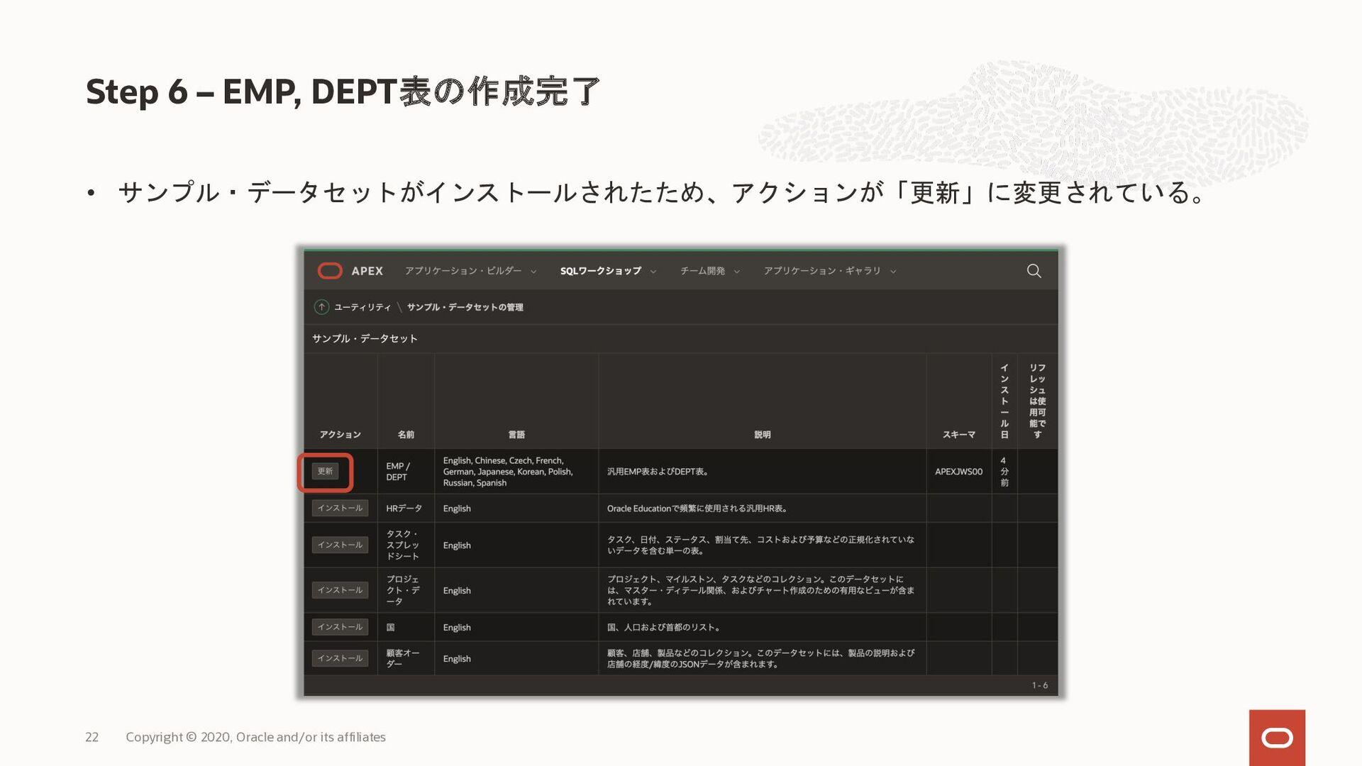 • サンプル・データセットがインストールされたため、アクションが「更新」に変更されている。 S...