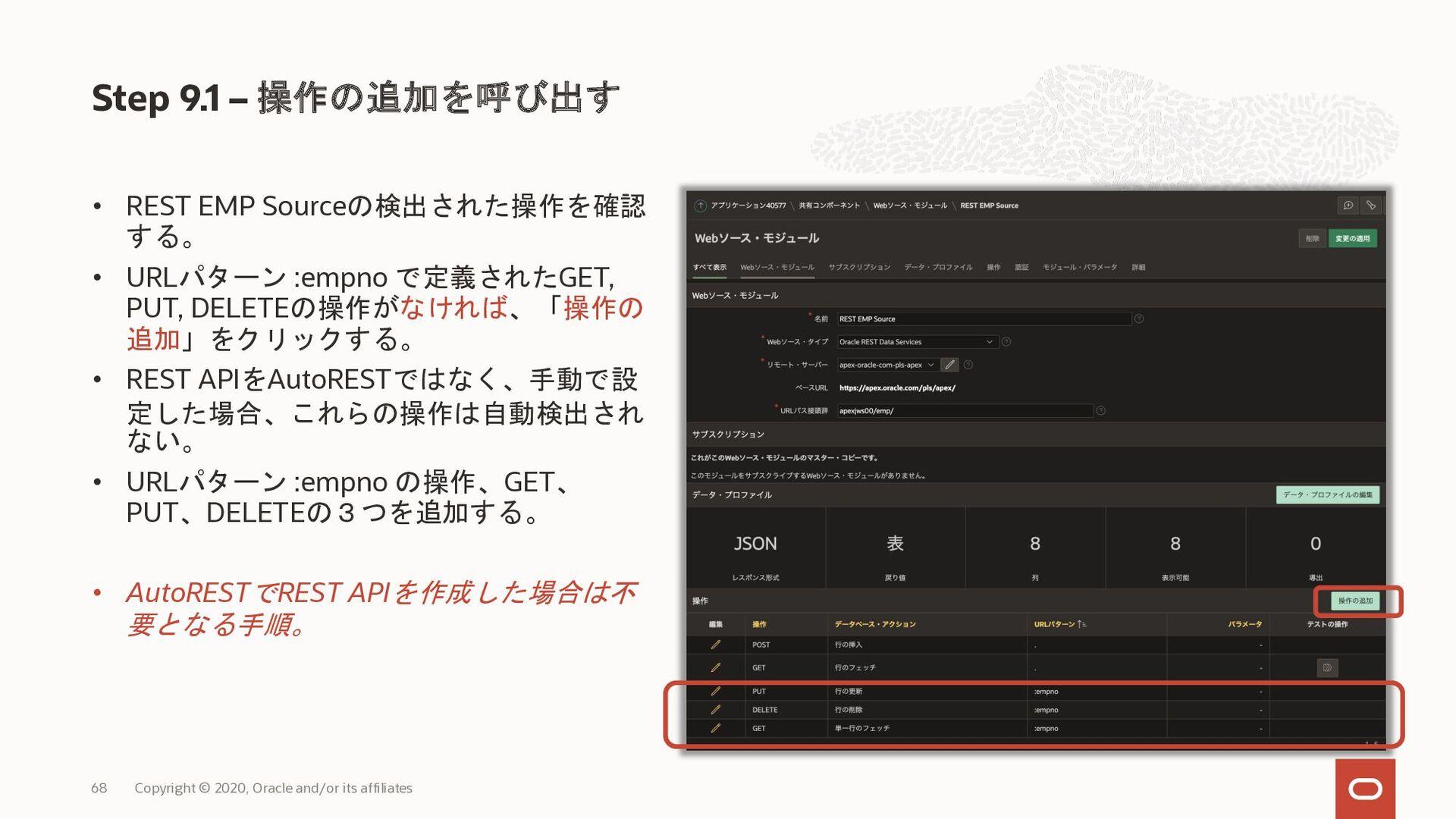 • REST EMP Sourceの検出された操作を確認 する。 • URLパターン :emp...
