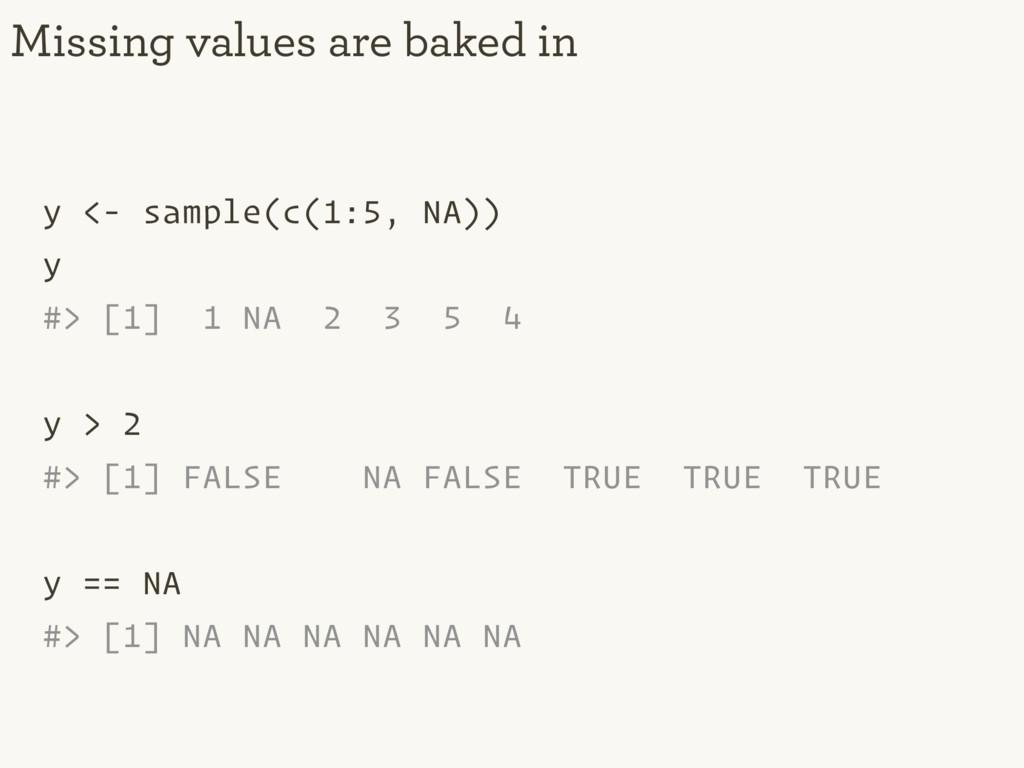 y <- sample(c(1:5, NA)) y #> [1] 1 NA 2 3 5 4 y...
