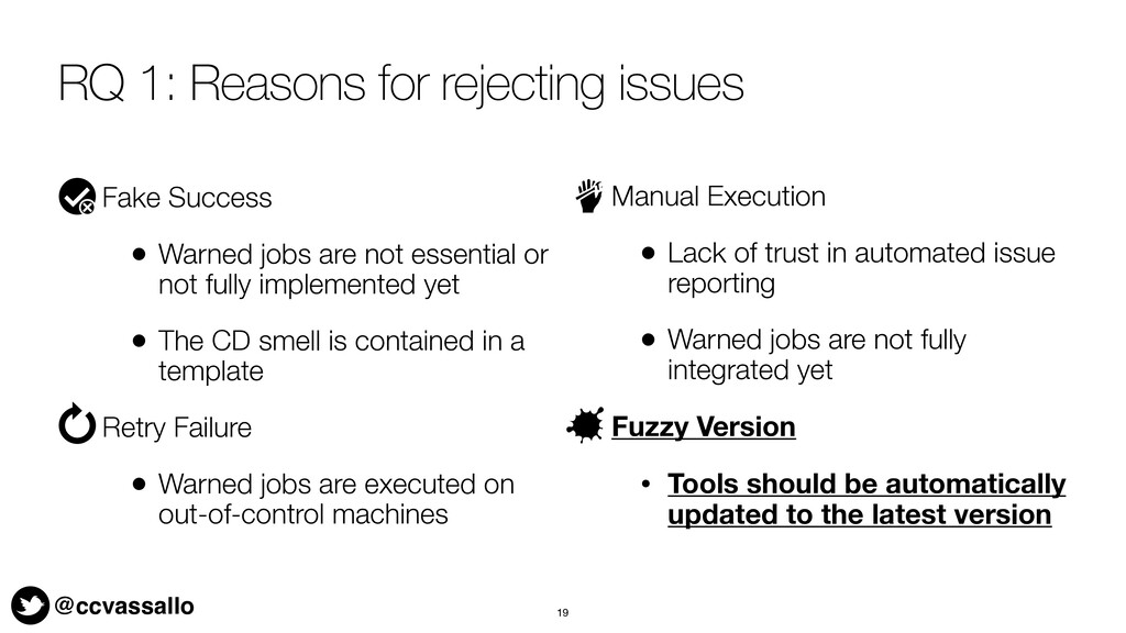 @ccvassallo RQ 1: Reasons for rejecting issues ...